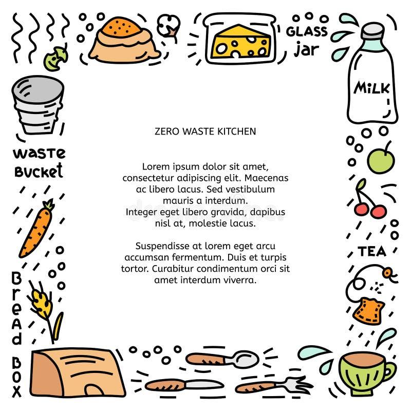 Marco cuadrado Concepto de basura cero, ilustración del doodle stock de ilustración
