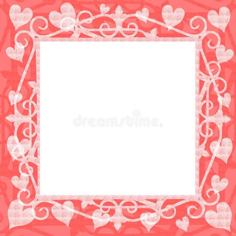 Marco cuadrado de los corazones rosas claros stock de ilustración
