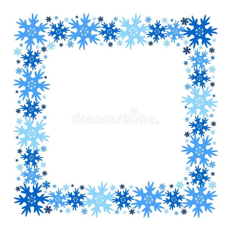 Marco cuadrado del invierno del vector de copos de nieve Aislado ilustración del vector