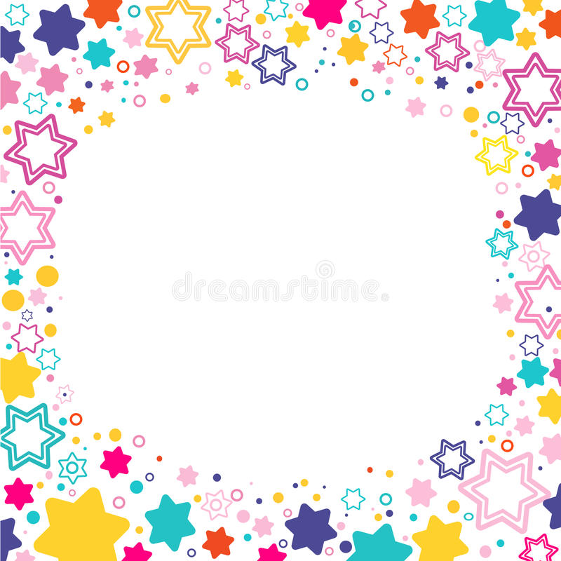 Marco cuadrado del vector con las estrellas coloreadas David en el fondo blanco, los símbolos coloreados chispas - protagonice el ilustración del vector