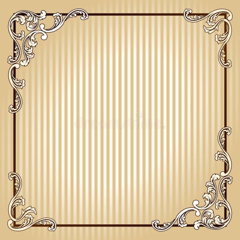 Marco cuadrado elegante de la sepia de la vendimia stock de ilustración