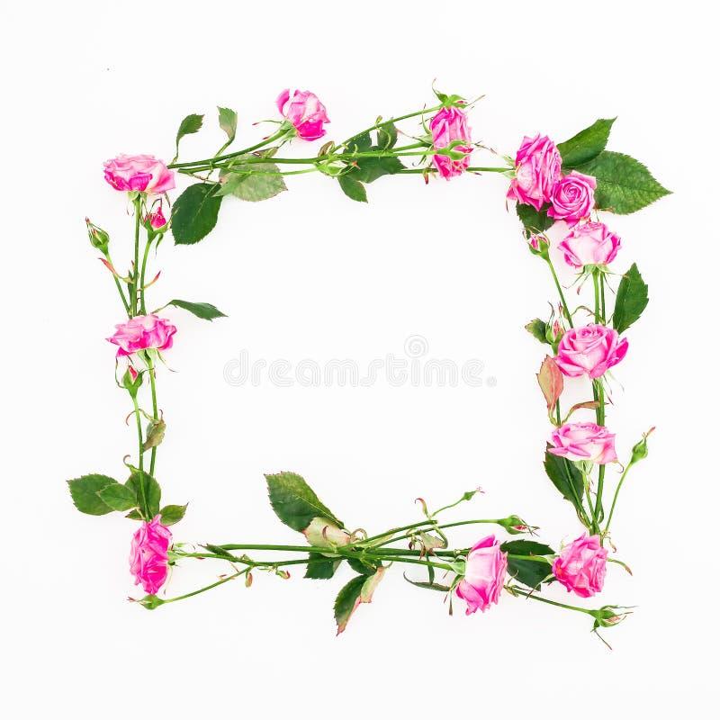 Marco Cuadrado Floral Hecho De Rosas, De Ramas Y De Hojas Rosadas En ...