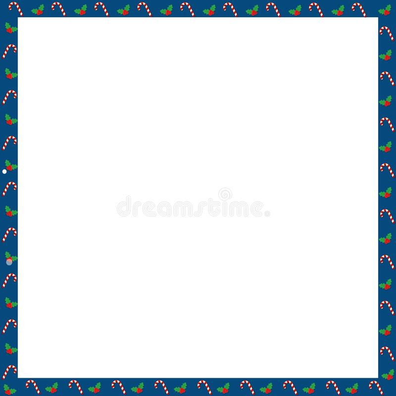 Marco cuadrado lindo de la Navidad o de la foto del Año Nuevo con el bastón de caramelo, modelo de las bayas en blanco ilustración del vector