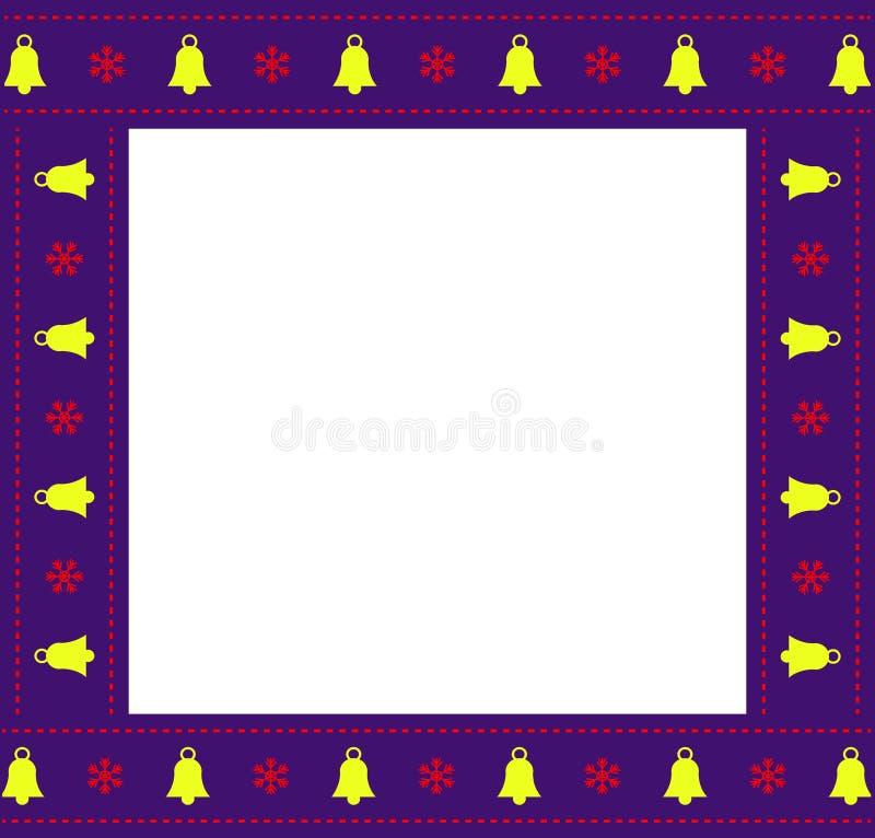 Marco cuadrado lindo de la Navidad o de la frontera del Año Nuevo con el espacio de la copia en el fondo blanco ilustración del vector