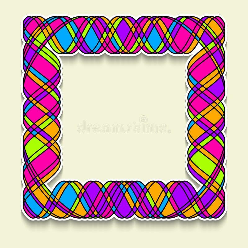 Marco cuadrado multicolor en el estilo del mosaico al azar Plantilla de la bandera de la web, de la venta o del descuento, aviado ilustración del vector