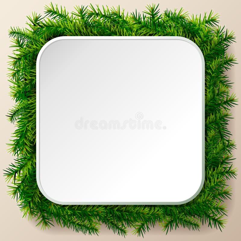 Marco cuadrado vacío de las ramitas del árbol de navidad stock de ilustración