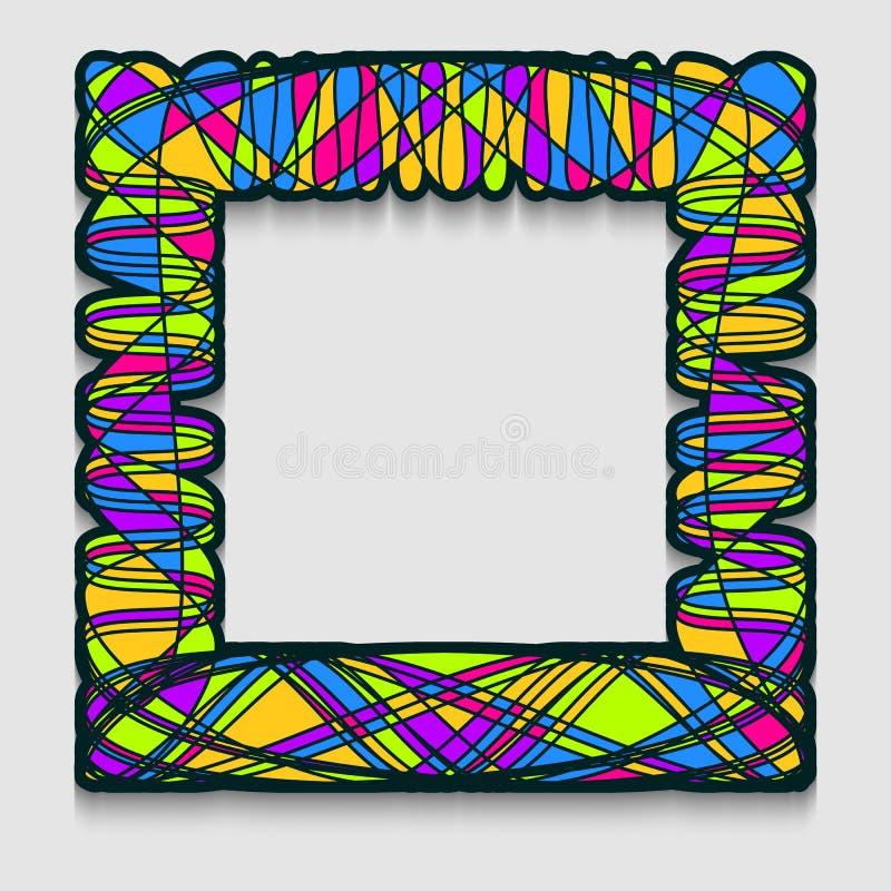 Marco cuadrado vibrante en estilo del arte moderno Líneas onduladas modelo para la bandera de la web, la venta o el descuento, av stock de ilustración