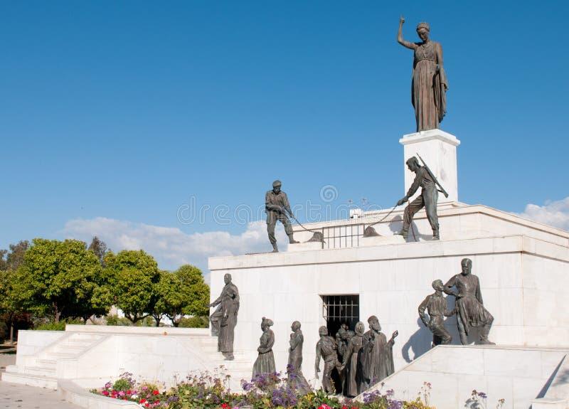 Marco da estátua do monumento da liberdade em Nicosia, Chipre foto de stock