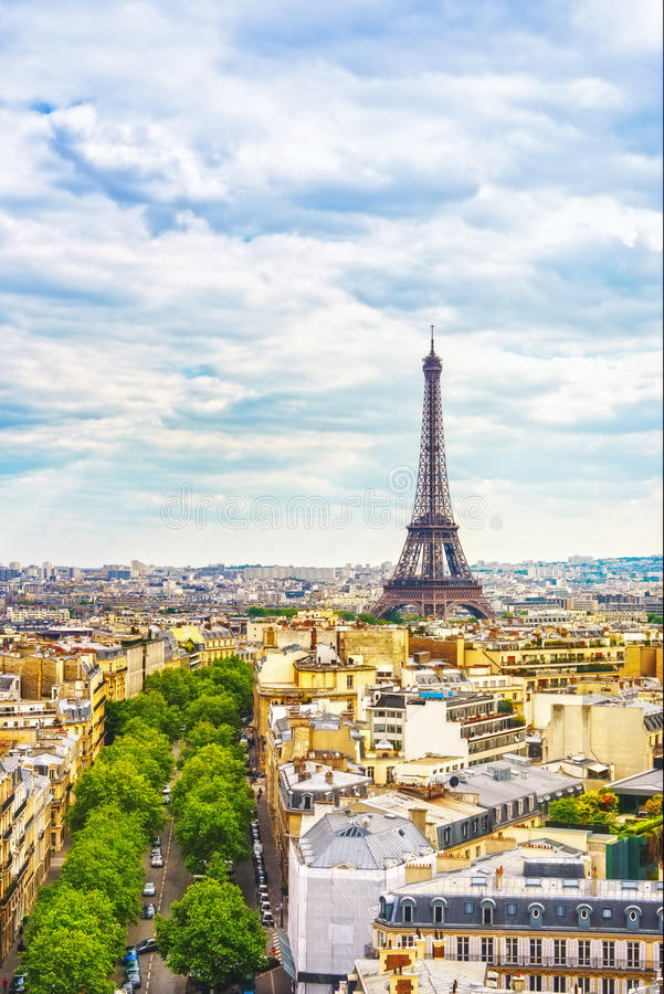Marco da torre Eiffel, vista de Arc de Triomphe Paris, France fotos de stock royalty free