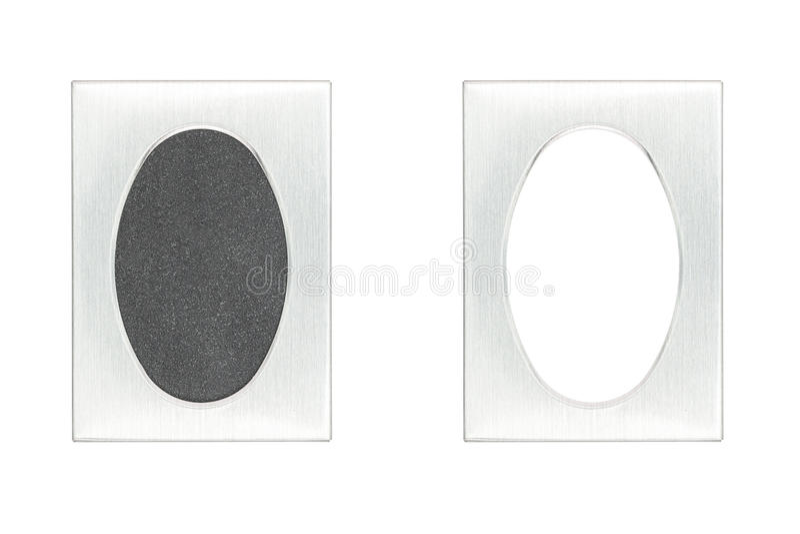 Marco de aluminio cepillado del passpartout imagenes de archivo