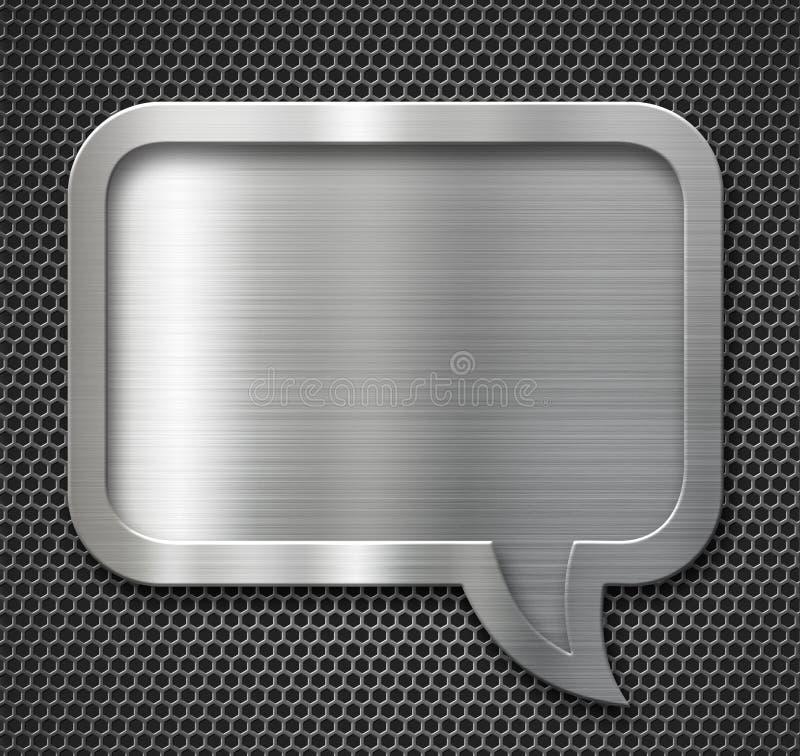 Marco de aluminio de la burbuja del discurso del metal sobre rejilla fotografía de archivo libre de regalías
