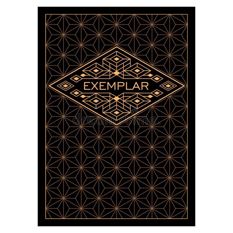Marco de Art Deco Monochrome Flourishes del vintage Plantilla ornamental del vector de la tarjeta de felicitación Cubierta del fo stock de ilustración
