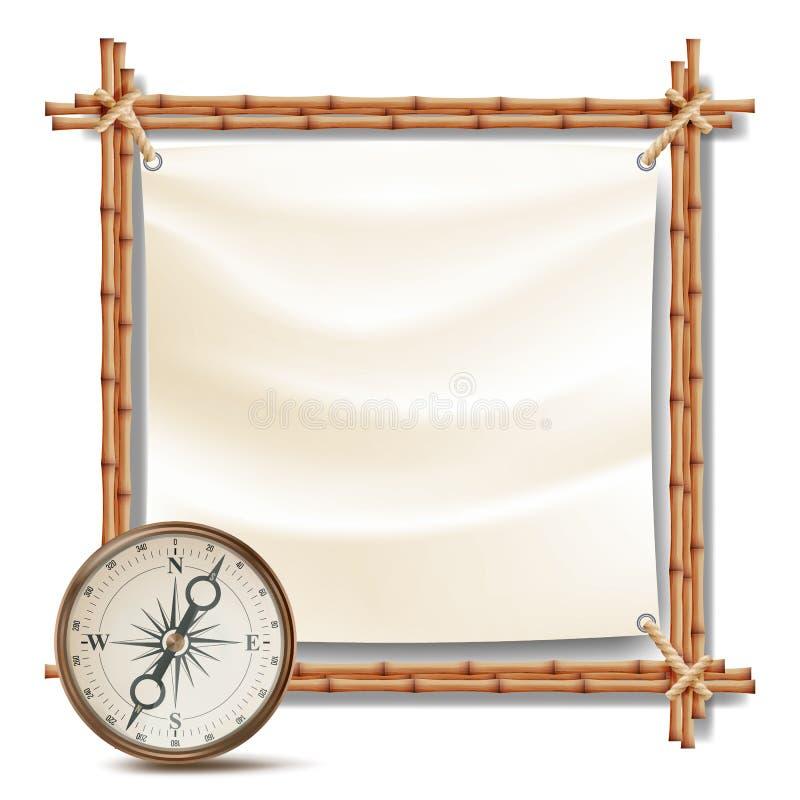 Marco de bambú con vector del compás Concepto tropical de la aventura del verano Ilustración aislada stock de ilustración
