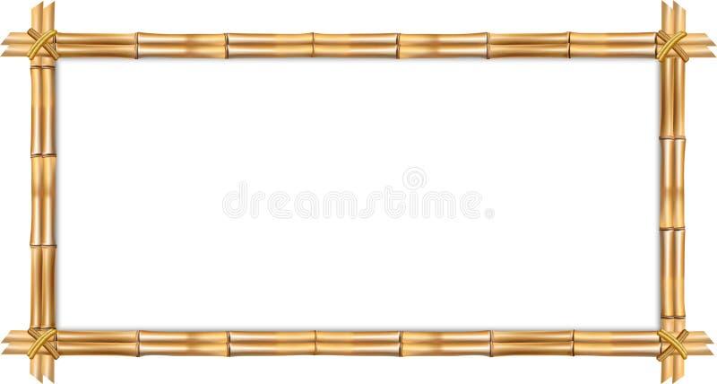 Marco de bambú del marrón del rectángulo con el espacio de la cuerda y de la copia aislado ilustración del vector