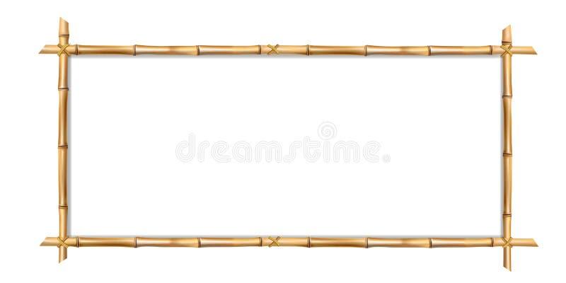Marco de bambú marrón de la frontera del rectángulo con el espacio para el texto stock de ilustración