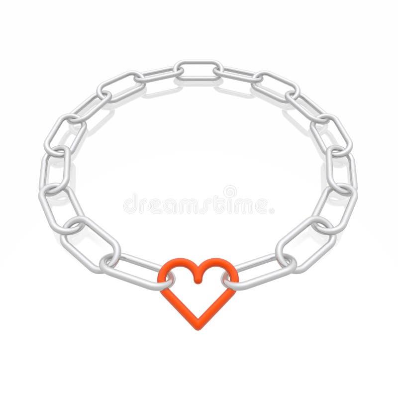 Marco de cadena con el corazón stock de ilustración