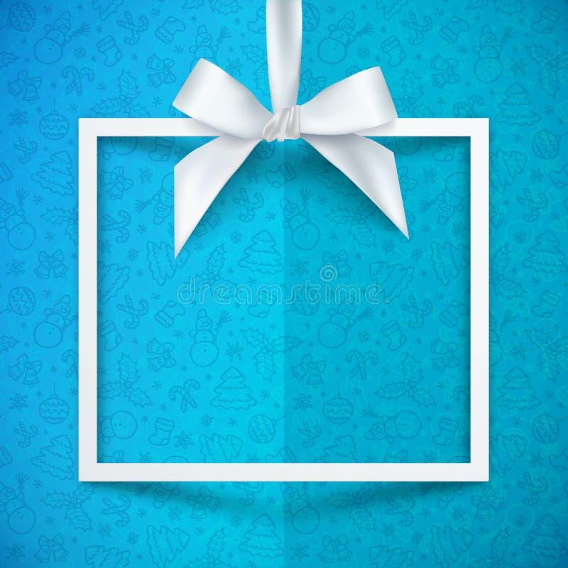 Marco de caja de regalo del Libro Blanco con el arco sedoso ilustración del vector