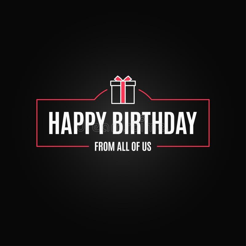 Marco de caja de regalo de cumpleaños Tarjeta de la frontera del feliz cumpleaños en fondo negro stock de ilustración