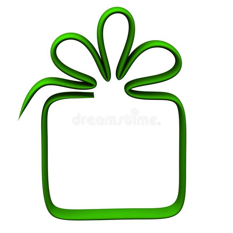 Marco de caja verde de regalo, 3d stock de ilustración