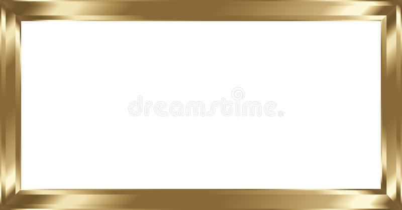 Marco de cobre amarillo del metal en blanco ilustración del vector