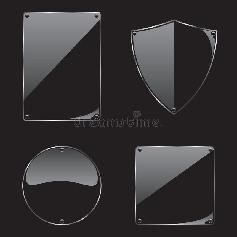 Marco de cristal en la colección negra del fondo ilustración del vector
