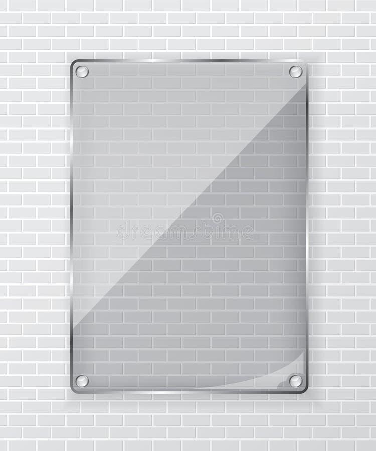 Marco de cristal en la pared de ladrillo stock de ilustración