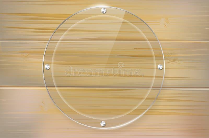 Marco de cristal transparente del círculo en fondo de madera stock de ilustración
