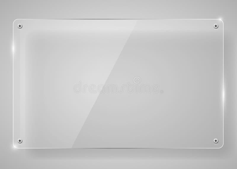 Marco de cristal transparente horizontal realista con la sombra Fondo moderno stock de ilustración