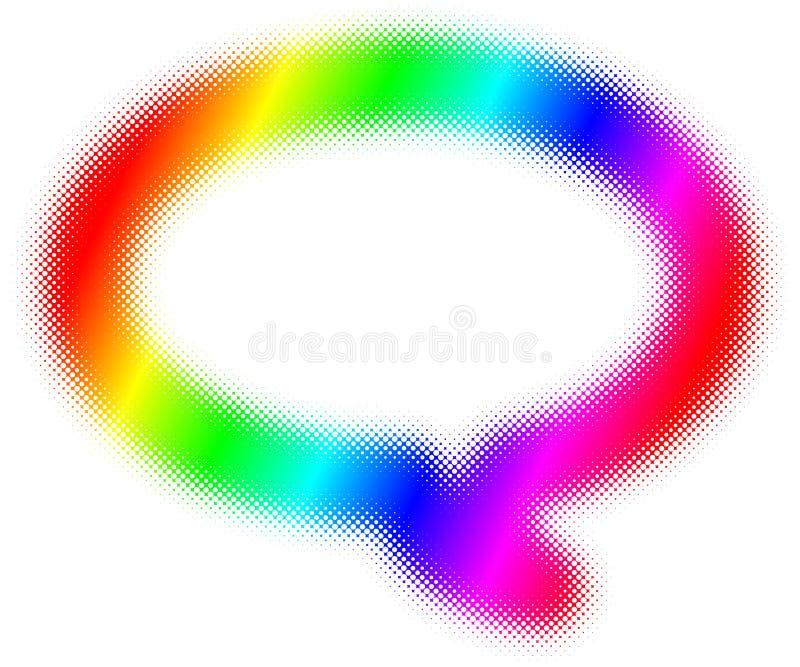 Marco de discurso de semitono de la burbuja del arco iris ilustración del vector