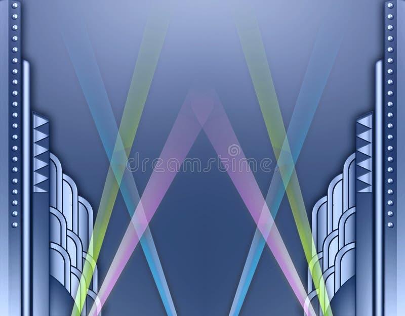 Marco de edificio del art déco w/spotlights ilustración del vector
