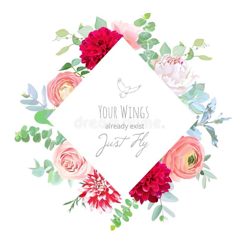 Marco de etiqueta floral del Rhombus de las flores blancas, rosadas y rojas libre illustration