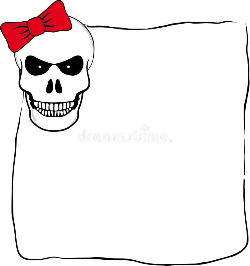 Marco de Halloween del vector con el cráneo espeluznante sonriente ilustración del vector