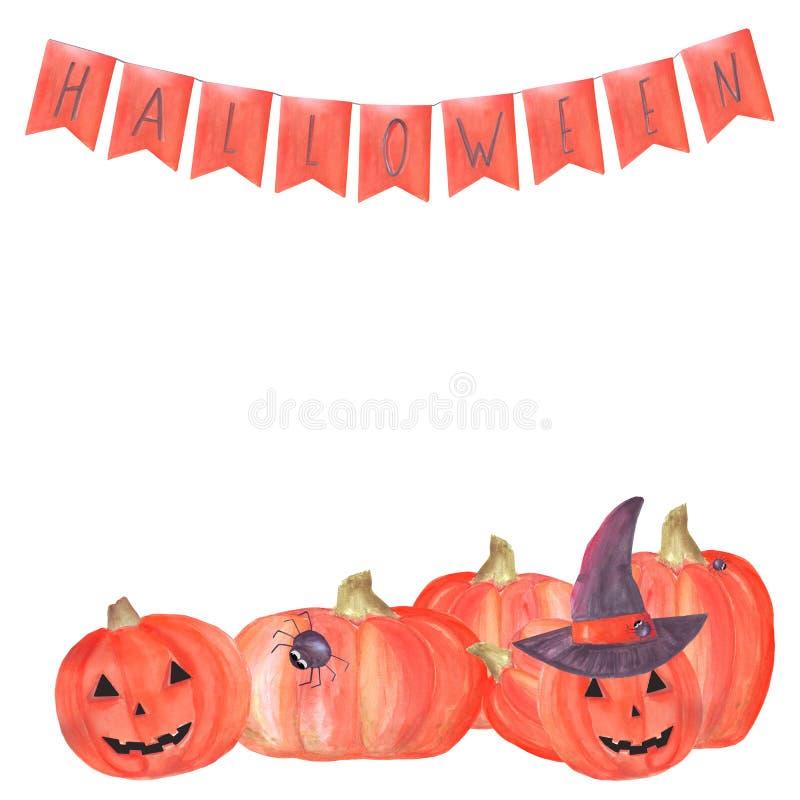 Marco de Halloween de la acuarela con las calabazas, una bandera de banderas con las letras, el sombrero de una bruja y arañas Co ilustración del vector