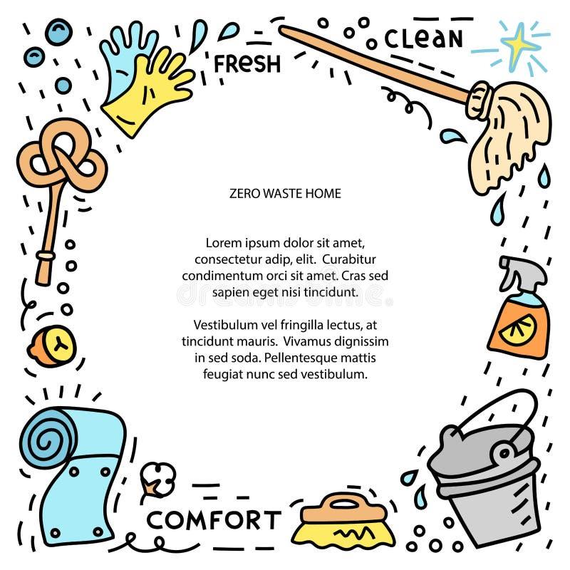Marco de ilustración de basura cero, objetos de doodle para el hogar ilustración del vector
