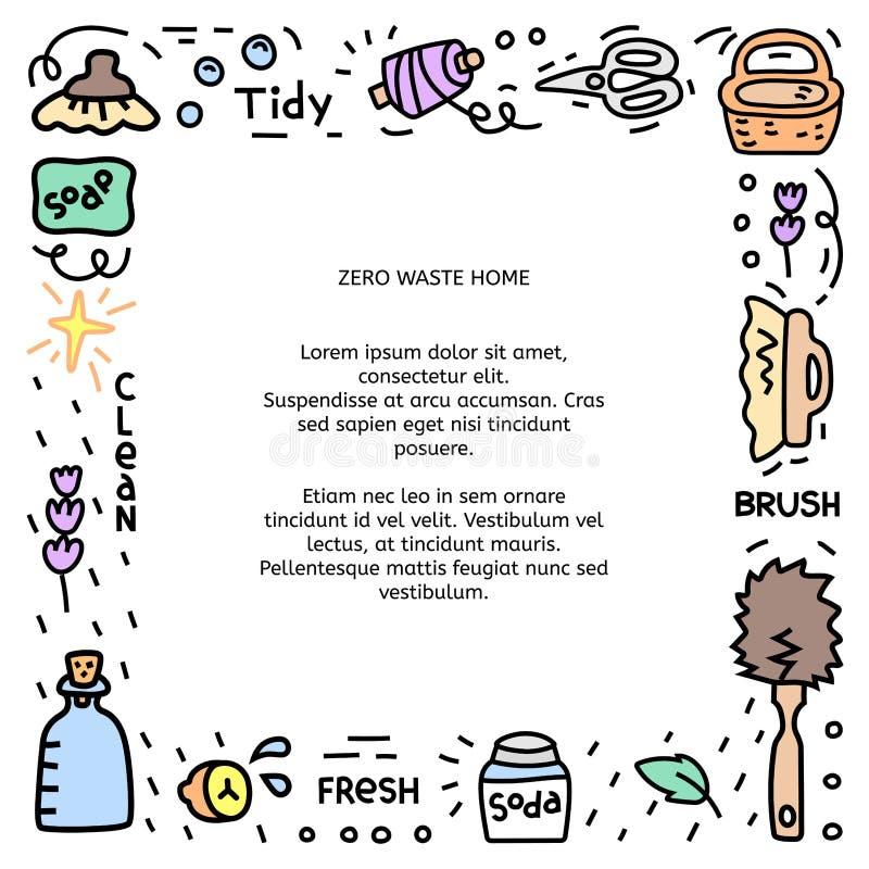 Marco de ilustración de residuos cero con objetos para el hogar libre illustration
