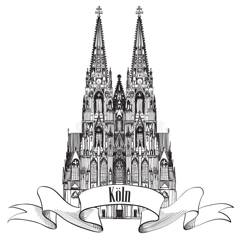 Marco de Koln da água de Colônia. Símbolo de Gemany do curso ilustração royalty free