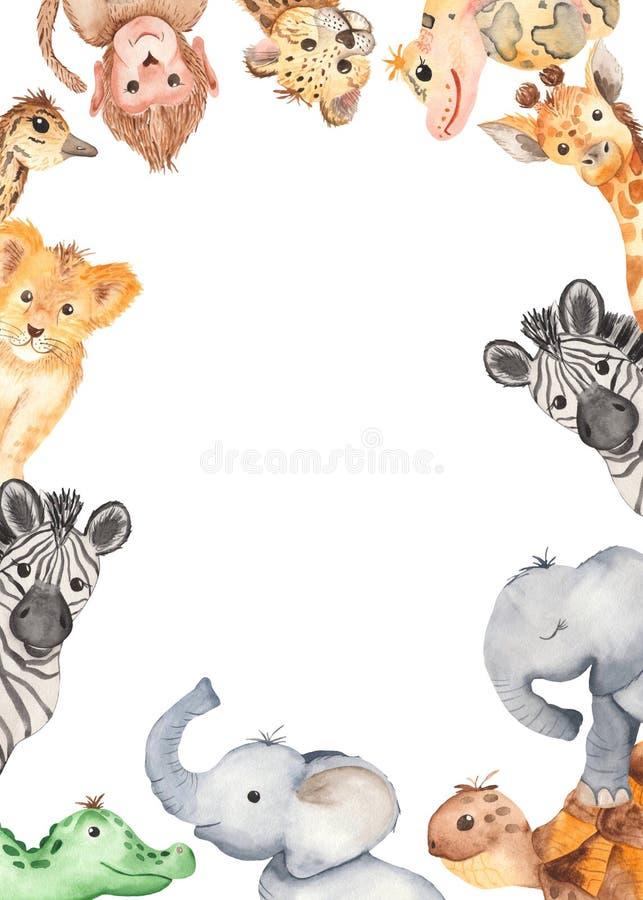 Marco de la acuarela con los animales lindos de la historieta de África ilustración del vector