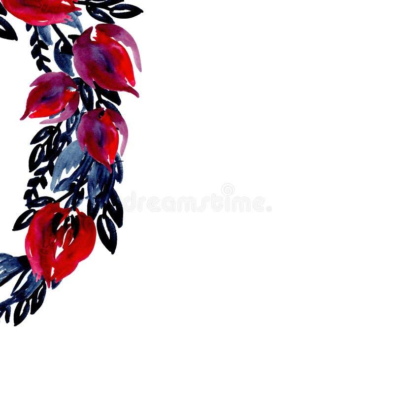 Marco de la acuarela del ejemplo alrededor del borde de las flores y de las hojas del añil, rojo, Borgoña, color azul profundo ilustración del vector