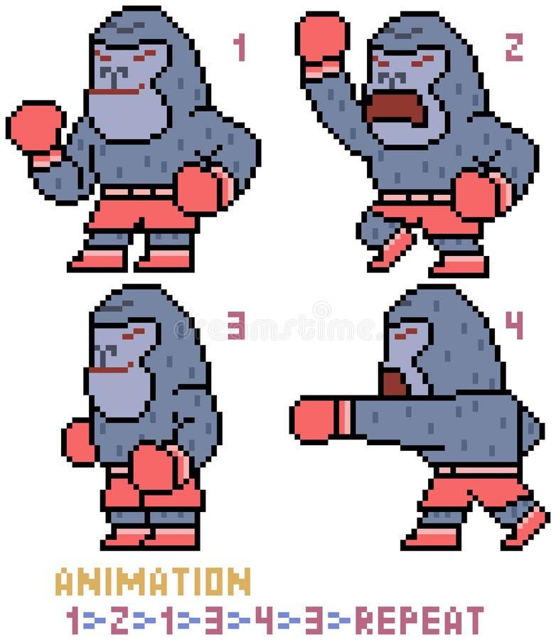 Marco De La Animación Del Gorila Del Arte Del Pixel Del Vector ...