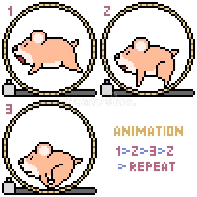 Marco De La Animación Del Hámster Del Arte Del Pixel Del Vector ...