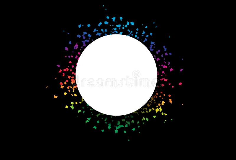 Marco de la bandera del círculo con el confeti del arco iris, explosión de papel dispersada decoración, partido de la celebración stock de ilustración