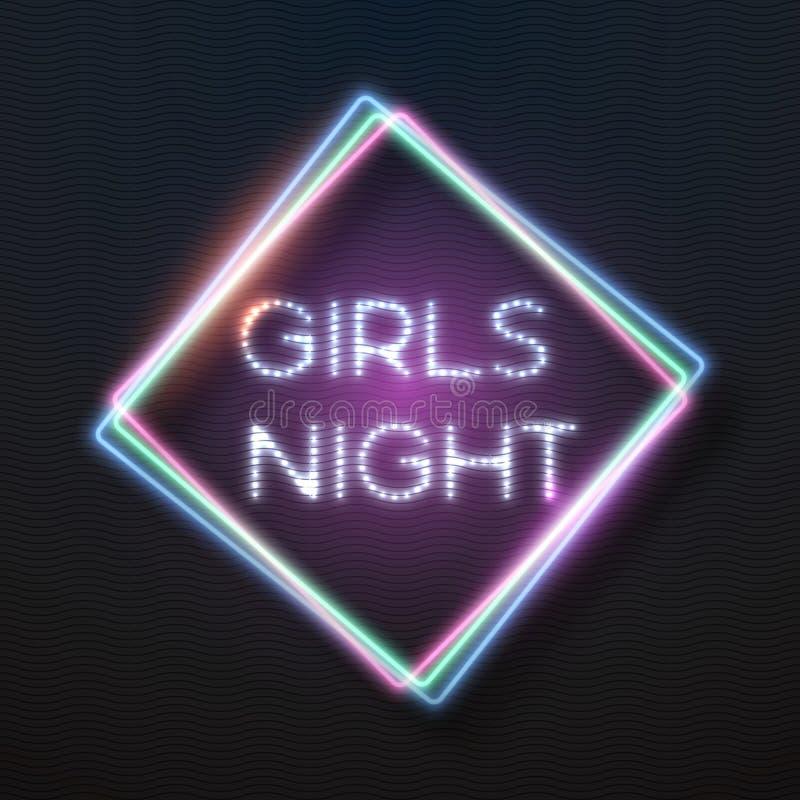 Marco De La Barra De Señora Party Glowing Neon Ilustración del ...