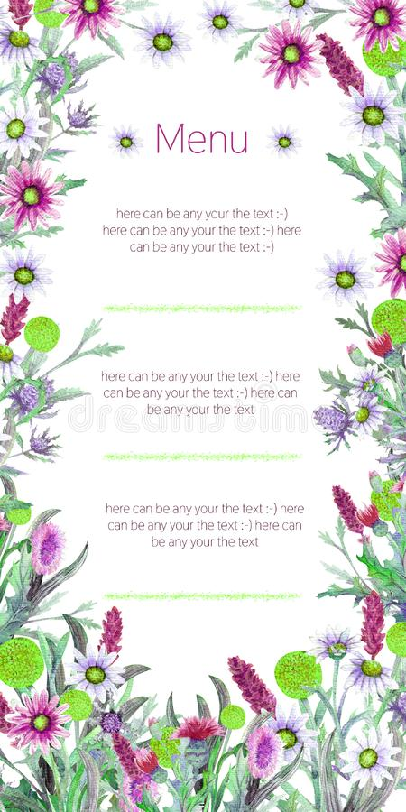 Marco de la boda de flores salvajes watercolor centro de flores Diseño de la plantilla de la tarjeta de felicitación Fondo de la  ilustración del vector