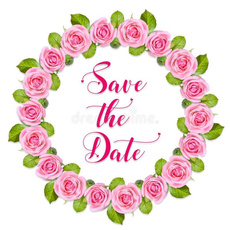 Marco de la boda Guirnalda de rosas en blanco Tarjeta de la invitación con reserva del texto la fecha stock de ilustración