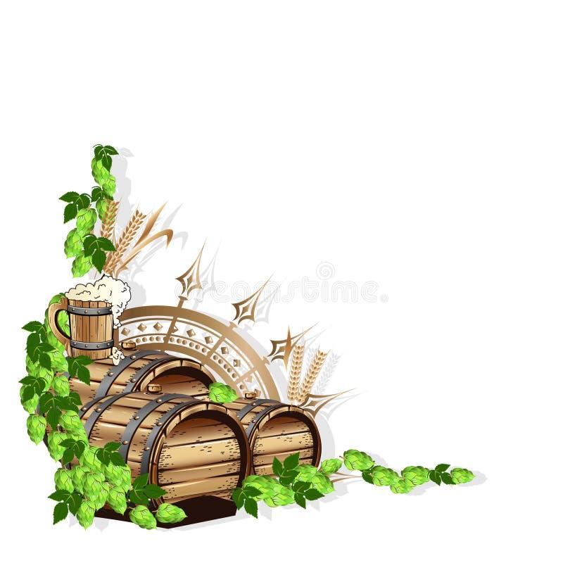 Marco De La Cerveza Con Los Elementos Del Vintage Ilustración del ...