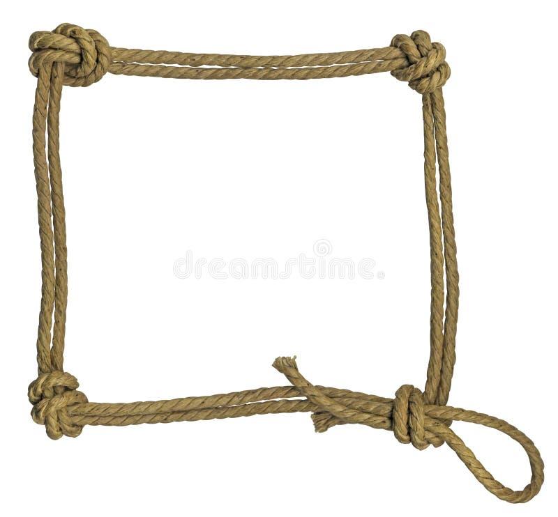 Marco de la cuerda con los nudos fotos de archivo