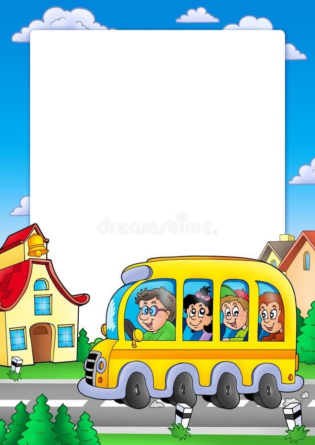 Marco de la escuela con el omnibus y los cabritos ilustración del vector