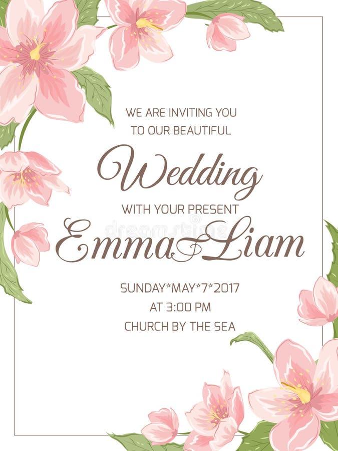 Marco de la esquina de Sakura de la magnolia de la invitación de la boda ilustración del vector