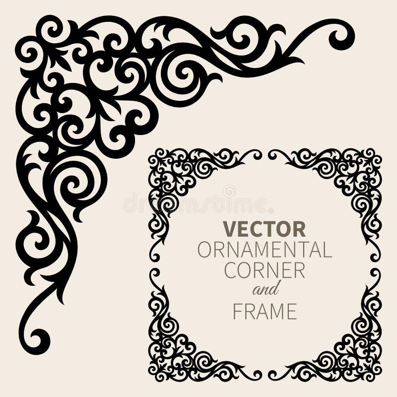 Marco de la esquina ornamental del vector ilustración del vector