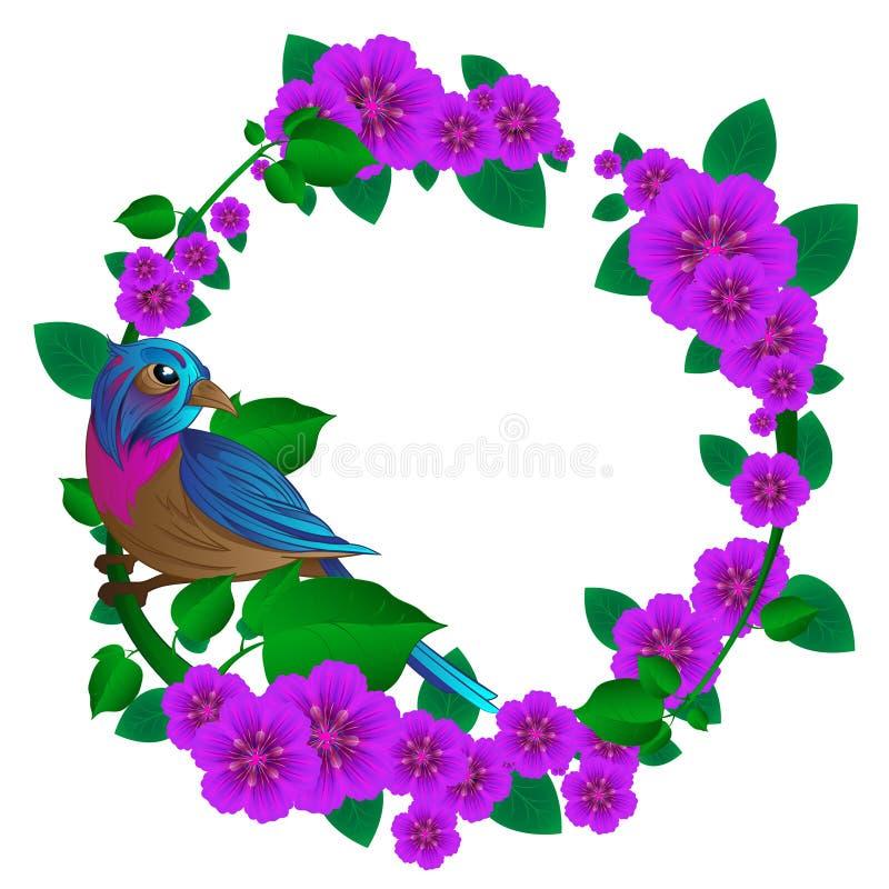 Marco de la estación de primavera con el pájaro exótico que se sienta en una rama stock de ilustración